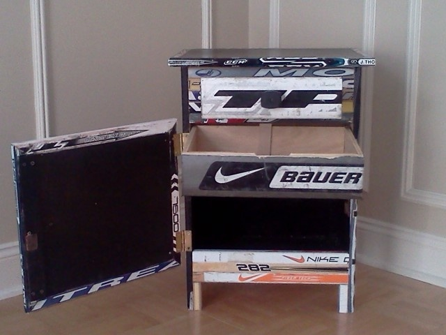 Made From Hockey Sticks, This Nightstand Features Extra Storage In The  Bottom Cabinet And 2 Drawers.