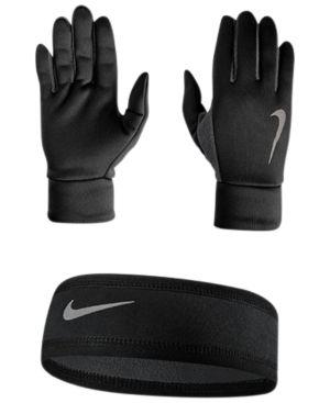 Nike Dri-fit Running Headband & Gloves Set - Black M/L
