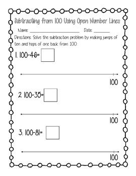 This is a set of 3 worksheets.  Each worksheet contains 5 equations of subtracting from 100.  Each equation has an open number line to use as a strategy.At the end of each worksheet, students will complete a word or story problem involving subtracting using place value from 100.Standards:2NBT1 - Place Value2NBT5 - Subtraction using place value2NBT7 - Subtraction using strategies2MD6 - Number LinesMiss M's Second Grade**Used a free border by Mad Clip's Factory