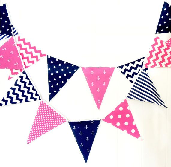 Bunting, Banner, Fabric Pennant Flags, Nautical Girl, Birthday, Navy Blue, Fuschia Hot Pink, Anchors, Chevron, Baby Nursery Decor, Garland