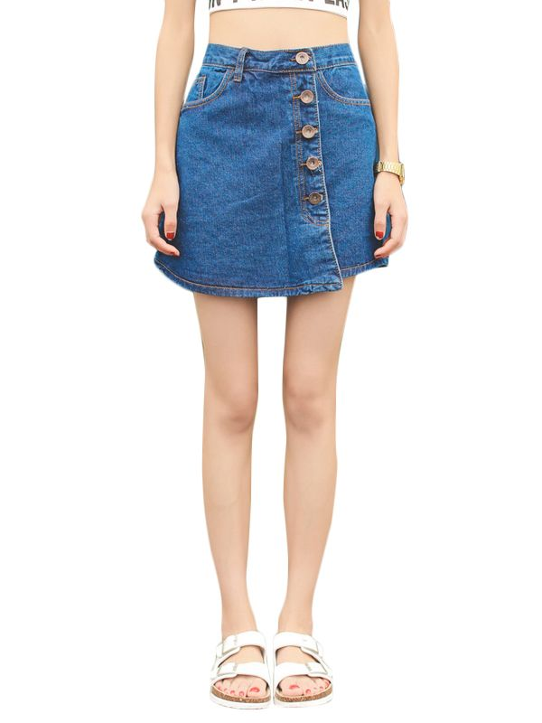 Shop Oblique Buttons Uneven Design Denim Skirt online at Jollychic,FREE SHIPPING!