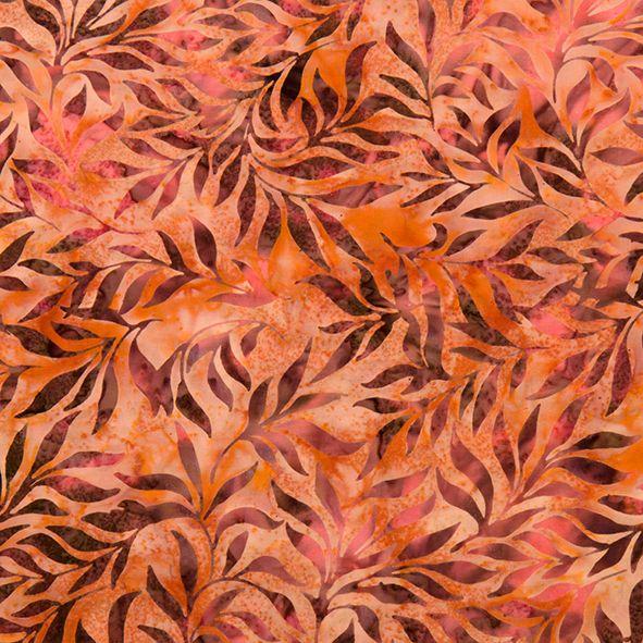 Bavlněná látka Batika Bali lístky hnědooranžové BB Látka vhodná na ubrusy, závěsy, polštáře apod. 100% bavlna, š. 110 cm
