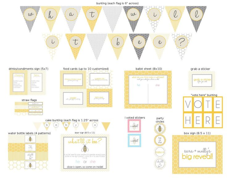 What Will it Bee Gender Reveal Printable Party by jlcprintables