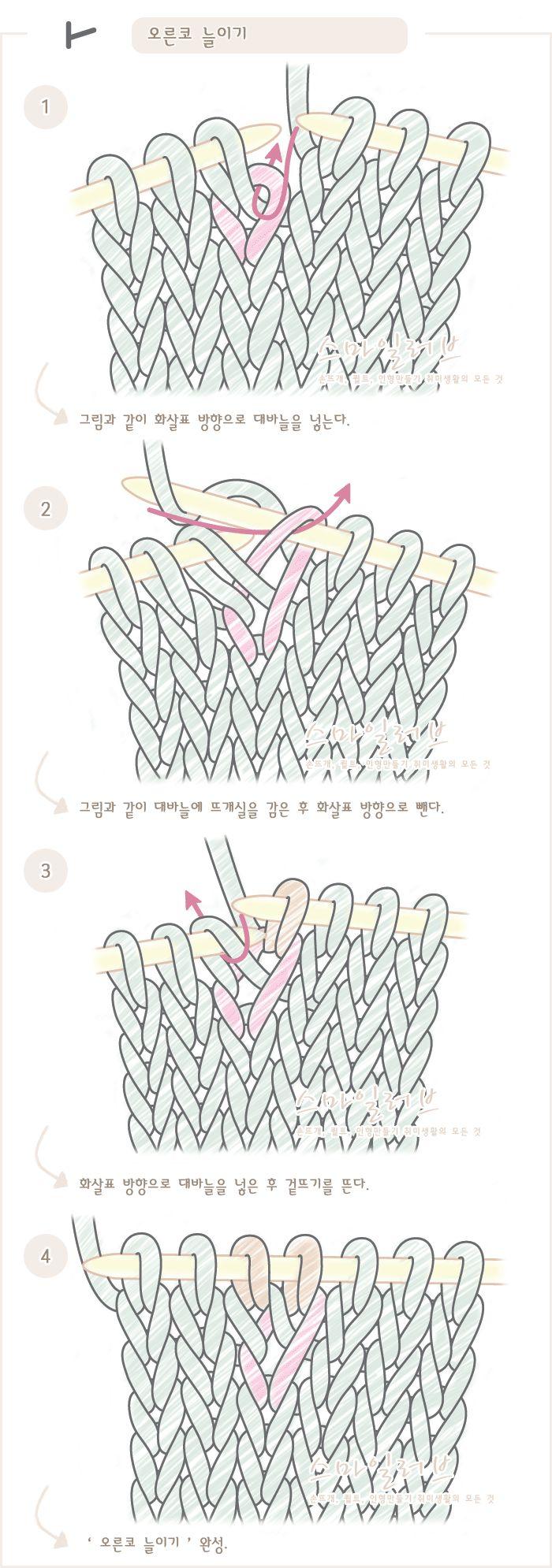 푸미스토리 손뜨개 뜨개실 털실 핸드메이드샵 - 대바늘 강좌 [[오른코 늘이기]대바늘 도안기호와 뜨는 방법. 손뜨개(뜨개질)강좌]