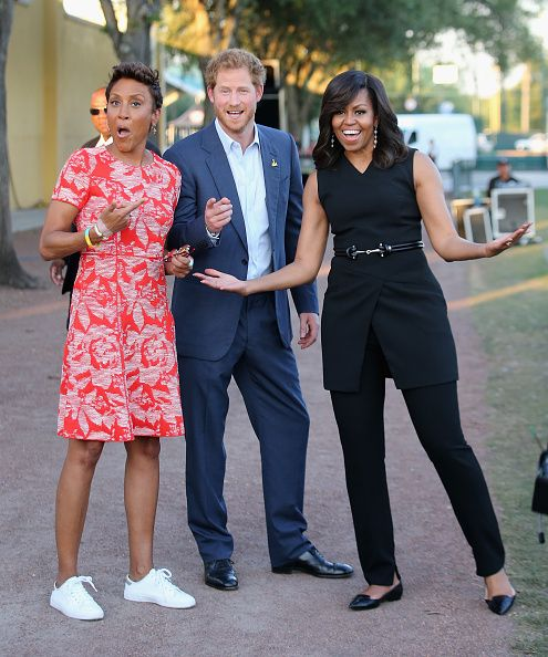 Prince Harry, First Lady Michelle Obama and presenter Robin Roberts ahead of the Opening Ceremony of the Invictus Games Orlando 2016 at ESPN Wide World of Sports on May 8, 2016 in Orlando, Florida.
