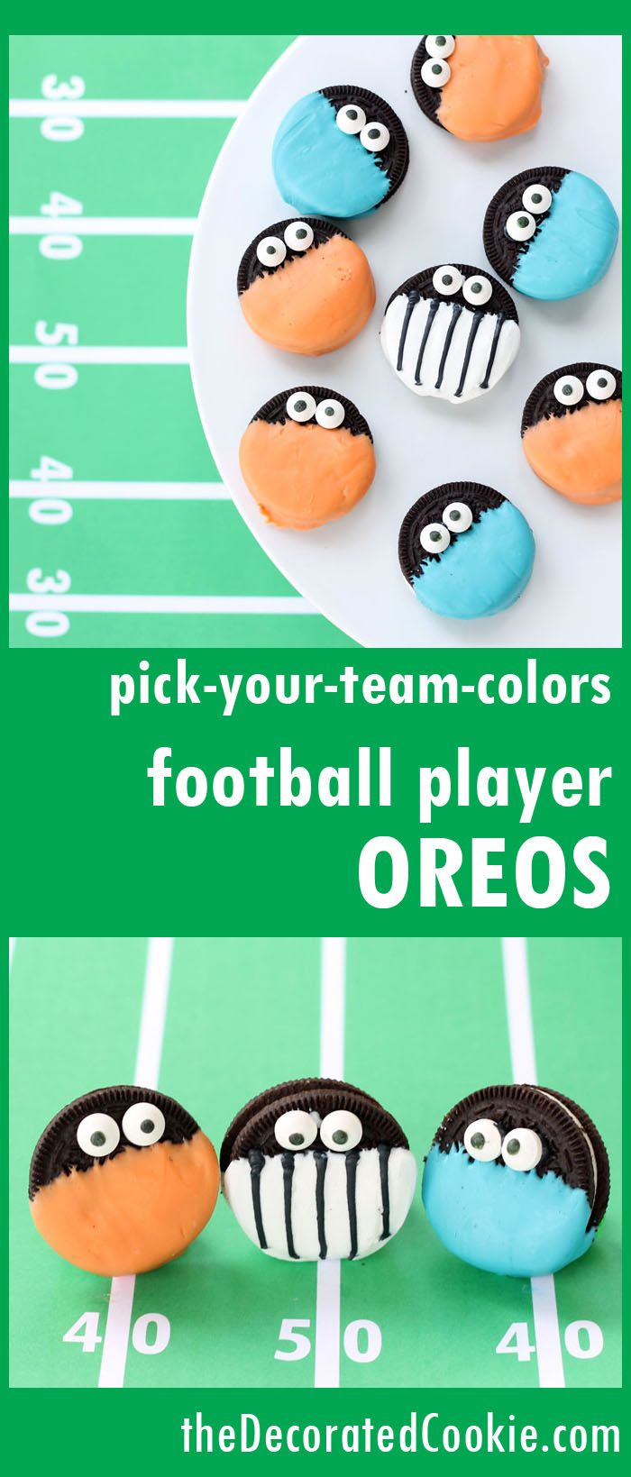Cute project for football parties, tailgate or youth football games: Dress your chocolate covered Oreo players in any of your favorite sports teams' colors using Wilton Candy Melts Candy! From thedecoratedcookie.com