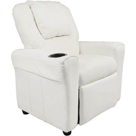 Flash Furniture Kids' Vinyl Recliner with Cupholder and Headrest, Multiple Colors, White