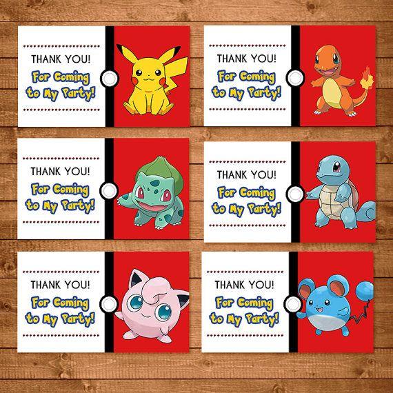 Pokemon Goody Bag Tags Red & White - Pokemon Treat Bags - Pokemon Party Favors - Pokemon  Printables