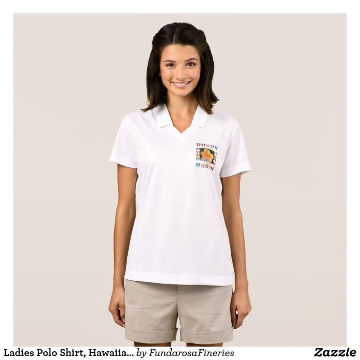 Ladies Polo Shirt, Hawaiian Tapestry Graphic