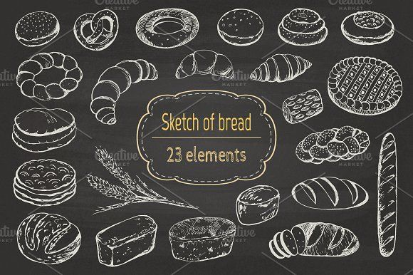 Sketch of bread and pastries. - Illustrations