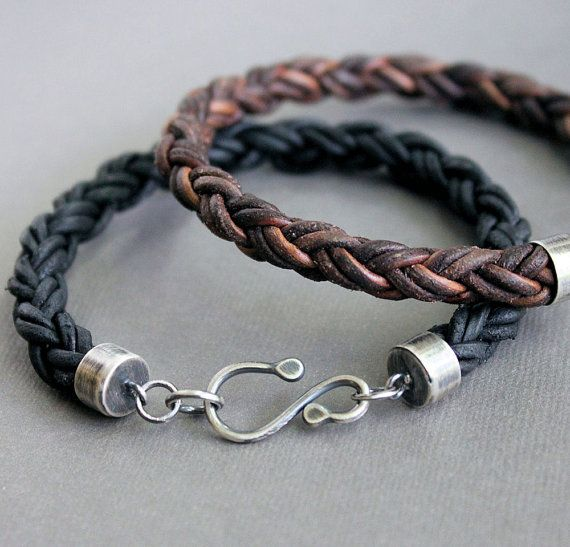 Thick braided leather bracelets with Silver hook clasps
