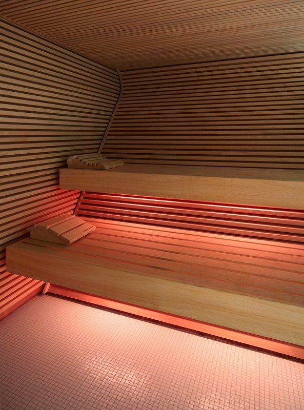 Spa sauna at the Das Stue Hotel in Berlin by Patricia Urquiola _