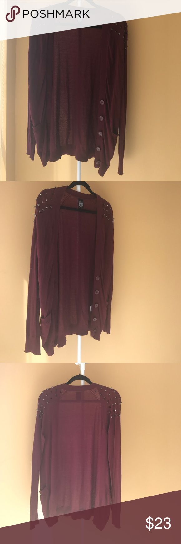 Maroon Cardigan with Edgy Shoulder Studs Adorable maroon Cardigan with gunmetal colored studs on the shoulders. Extremely soft & comfortable, perfect for the fall time. PacSun Sweaters Cardigans