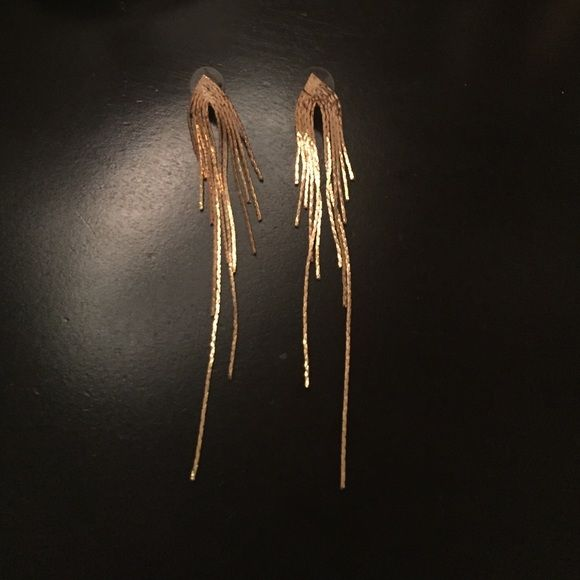 """Fierce gold earrings! Amazing gold earrings from Anthropologie. These are brand new and definitely make a statement! A little over 4"""" long. Great for a night out! Anthropologie Jewelry Earrings"""