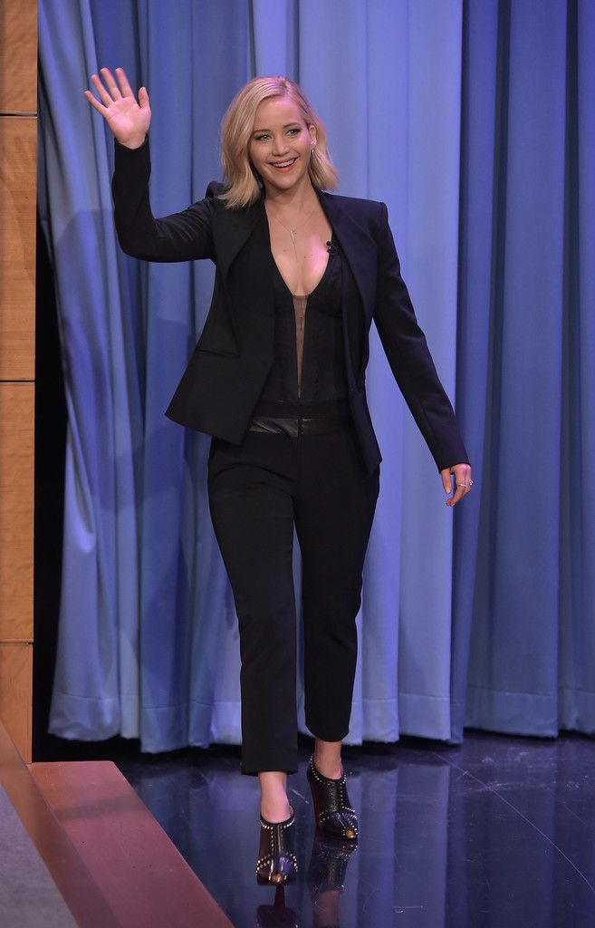 Jennifer Lawrence in Dion Lee Visits 'The Tonight Show Starring Jimmy Fallon' on November 18, 2015