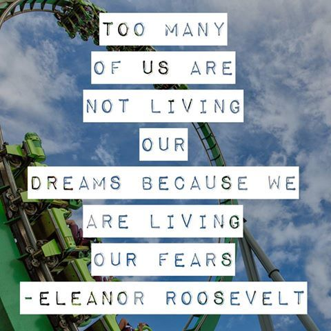 Too many of us are not living our dreams because we are living our fears - Eleanor Roosevelt / Quotes / Dreams / #BecauseDreamsMatter