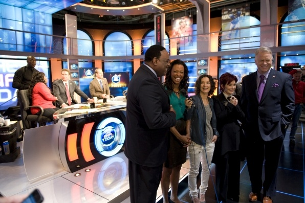 """NFL Today! The ladies of THE TALK drop by the set of CBS Sports' NFL TODAY while in New York City to get some """"Football 101"""" as they all gear up for their trip to New Orleans for the Super Bowl XLVII. (Pictured: Host James Brown, from left, Aisha Tyler, Sara Gilbert, Sharon Osbourne and Anaylst Boomer Esiason, shown."""