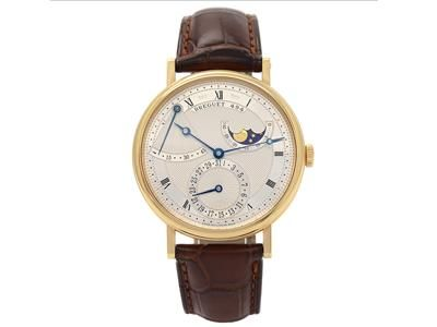 BREGUET, Classique, men´s wristwatch, 39,5 mm, 18K gold, self winding, sapphire crystal, day, date, moonphase, power reserve indicator, certificate, December 2009. Item no: 1070642 - Kaplans Auktioner