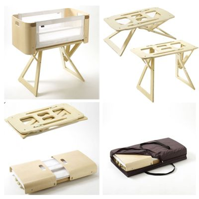 Bednest's unique tilting stand that can be adjusted to any height and crib sits securely on top. folds flat for travel
