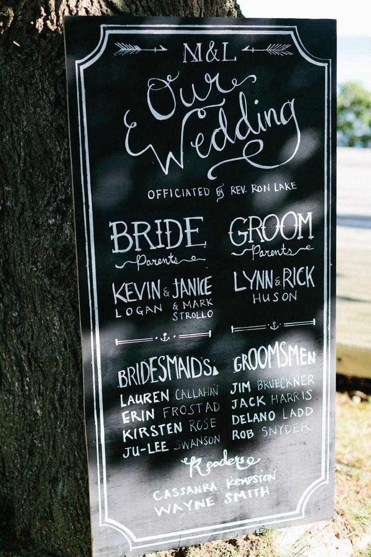 Wedding #Program #Sign | See the wedding on #SMP Weddings | http://www.stylemepretty.com/connecticut-weddings/stonington/2013/12/11/elihu-island-wedding/ Erin McGinn Photography