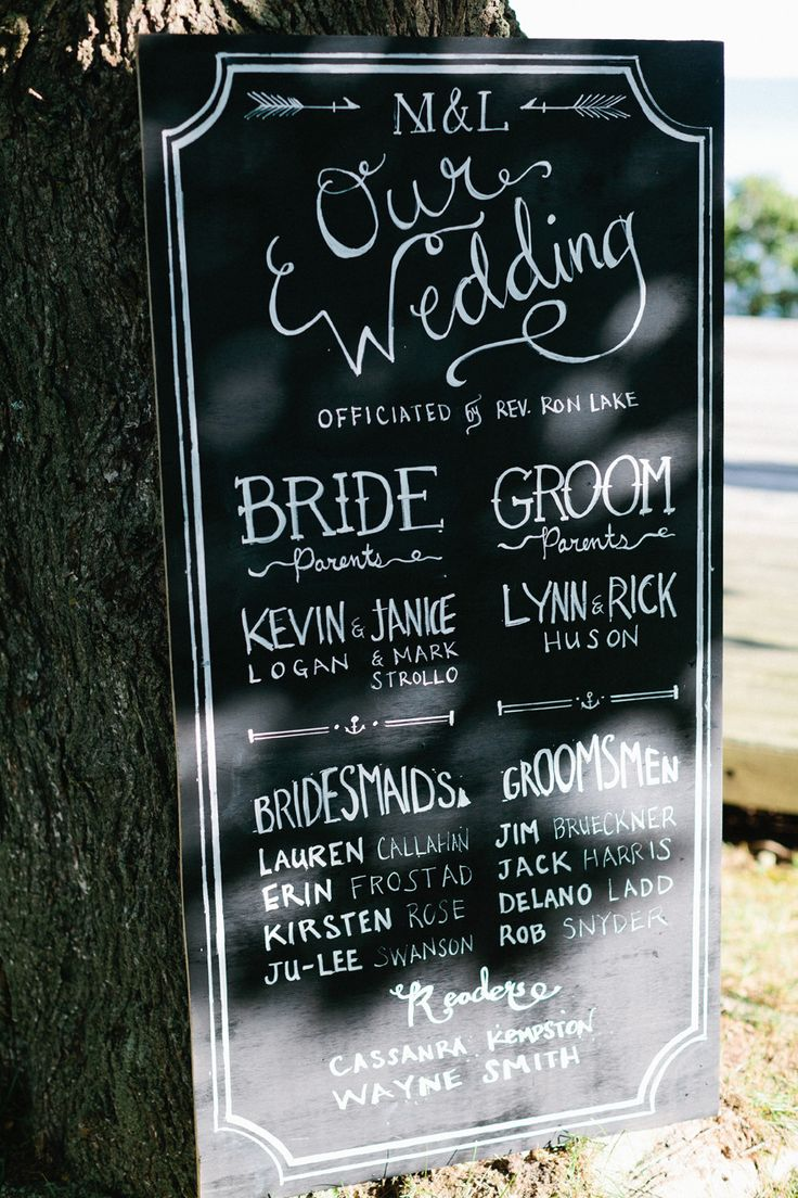 Wedding #Program #Sign | See the wedding on #SMP Weddings | http://www.stylemepretty.com/connecticut-weddings/stonington/2013/12/11/elihu-island-wedding/ Erin McGinn Photography