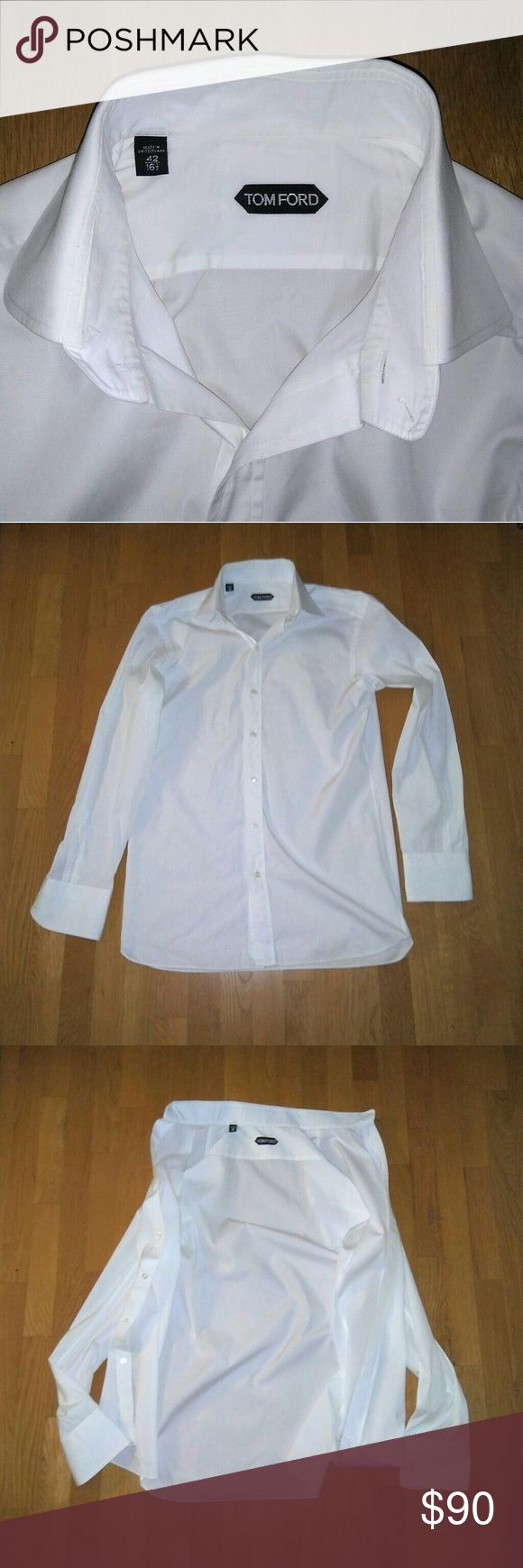 Tom Ford Dress Shirt White 16.5 eu 42 Sz Eu 42 Us 16.5 .Nice shape used dress shirt . Famous quality super high end 100% cotton . neiman marcus $570 . Crisp white  color . Good shape . Have 2 more ready for listing regular cuff. Nike Boost 80s 90s  Calvin Klein Adidas Vans Chloe Mac  Vintage items lv  Gucci urban givenchey Ysl vuitton Goyard Dior  Ck polo levis  Pink Victoria's Secret Ralph Lauren Converse Vintage Celine Tom Ford Shirts Dress Shirts