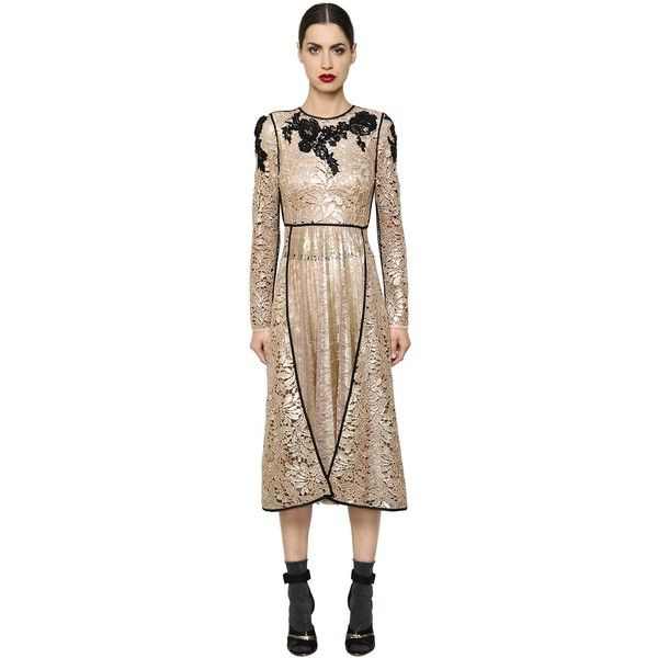 Antonio Marras Women Embroidered Macramé Lace Dress ($2,725) ❤ liked on Polyvore featuring dresses, nude, long dresses, embellished dress, embroidered lace dress, nude dress and nude lace dress