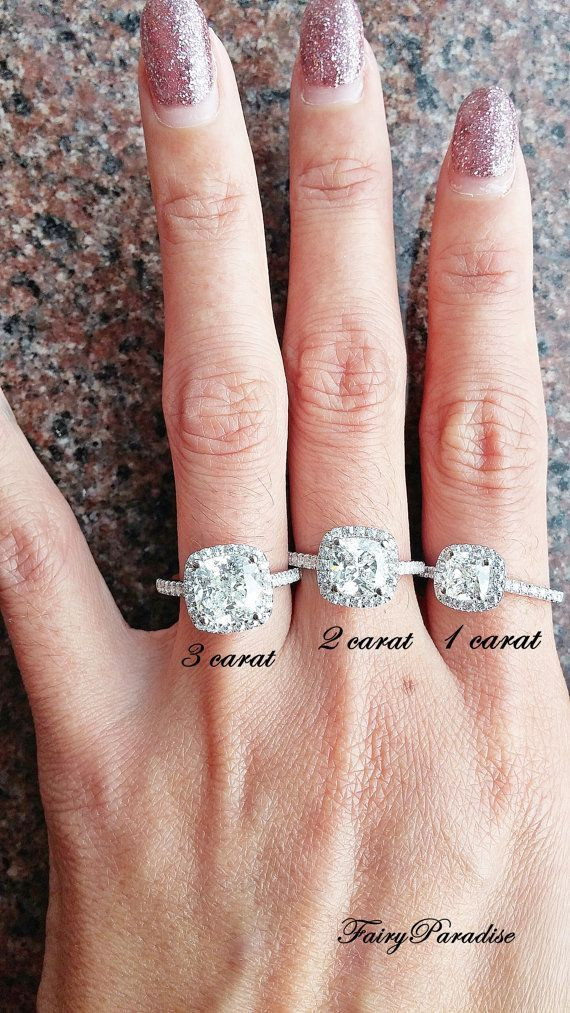 4cf0cbac98e5c0 3 Ct Cushion Cut Halo Engagement / Promise Ring by FairyParadise