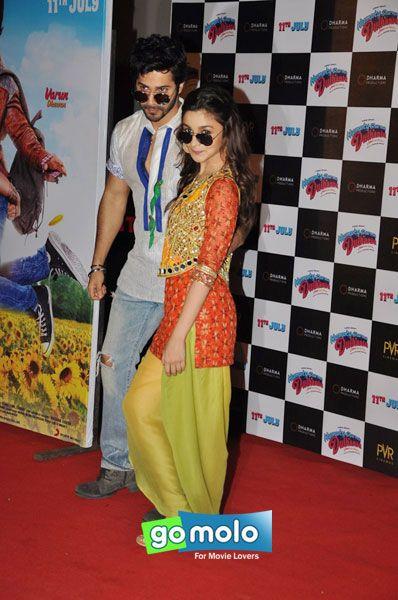 Varun Dhawan & Alia Bhatt at the First look launch of Hindi movie 'Humpty Sharma Ki Dulhania' at PVR Cinemas in Juhu, Mumbai