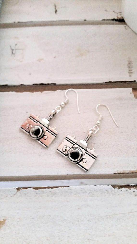 Camera photography earrings  mini camera charms  metal