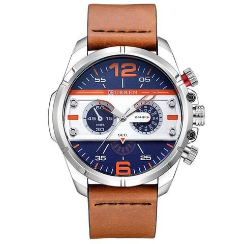 CURREN Watches Men Luxury Brand Army Military Watch Leather Sports Watches Quartz Men Waterproof Wristwatches Male Clock  Men's Watch Affordable Cheap Fashion Products Website Blue