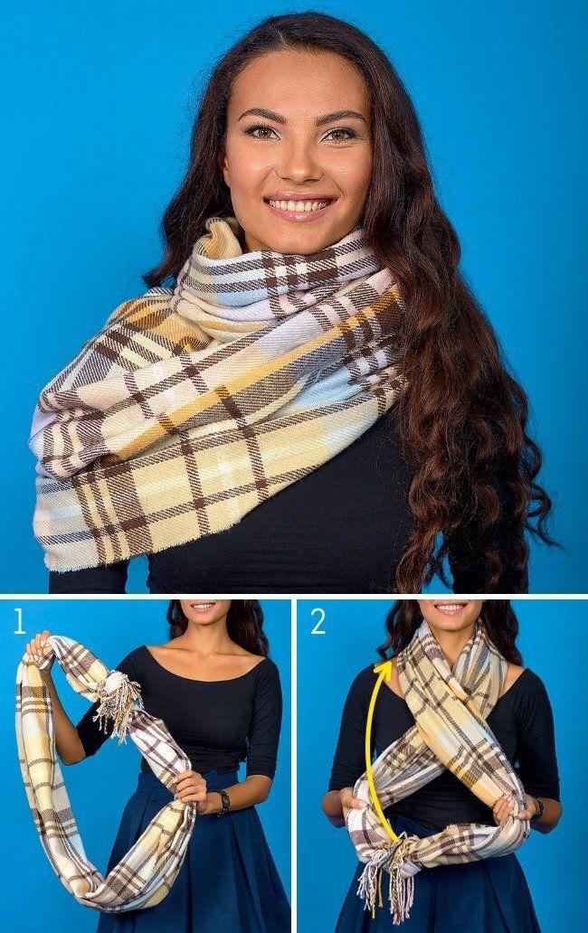 8 способов дополнить осенний образ с помощью шарфа. Французский узел просто Супер!
