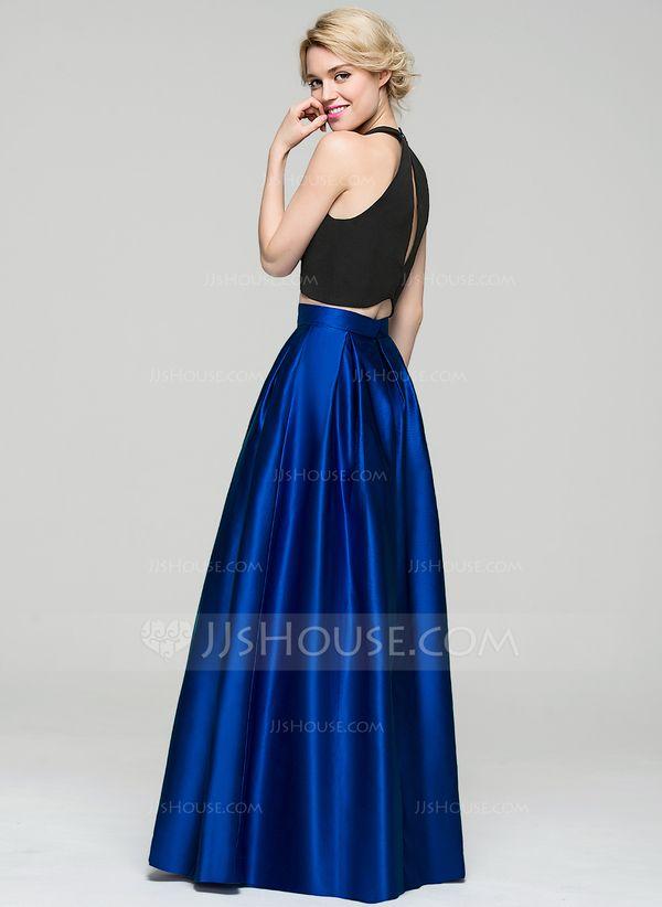 5e5c6e3e64 A-Line Princess Scoop Neck Floor-Length Satin Evening Dress Vestidos Para  Cena