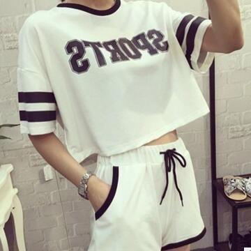 Korean knit cotton pajamas women short sleeve summer pyjamas #pijamas mujer casual sleepwear girls tracksuits 3XL S104
