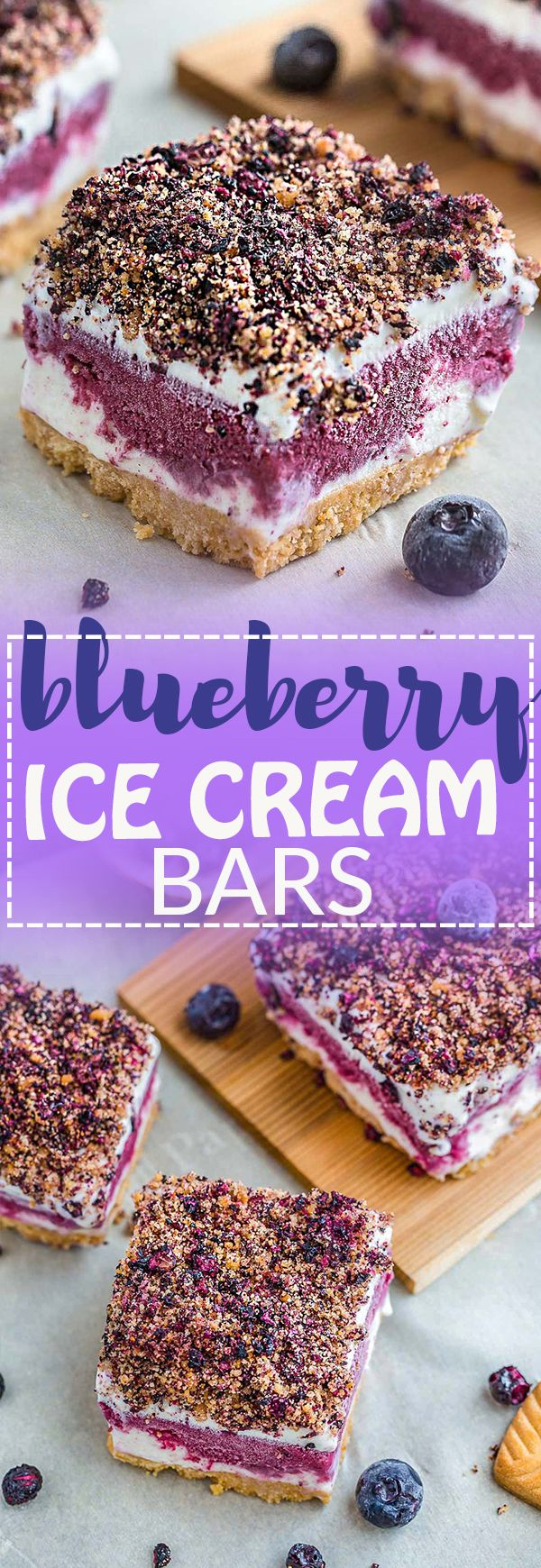 Blueberry Ice Cream Bars are the perfect cool treat on a hot summer day. They're a blueberry version of the classic Strawberry Shortcake Good Humor Ice Cream popsicles. Best of all, they're, so easy to make with delicious layers of vanilla ice cream, blueberry frozen yogurt, a crumbled shortbread topping & a no-bake cookie crust.