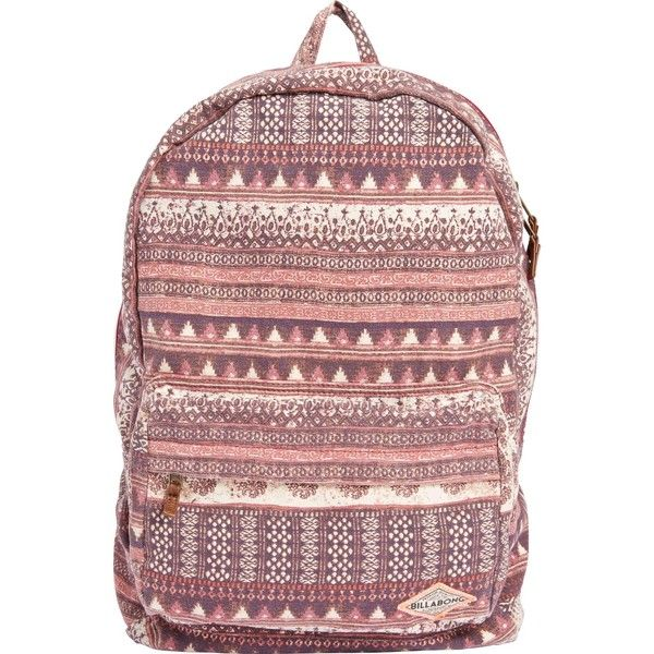 Billabong Women's Hand Over Love Backpack ($22) ❤ liked on Polyvore featuring bags, backpacks, accessories, mystic maroon, rucksack bag, billabong rucksack, knapsack bag, billabong and cotton backpack