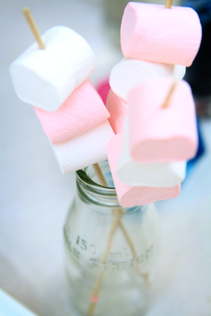 Pink and white marshmallows  i want a chocolate milk bar LOL