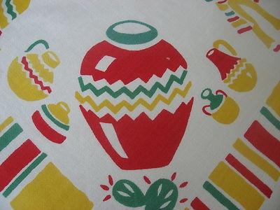 VINTAGE MEXICAN MOTIF KITCHEN TABLECLOTH~RETRO CHIC SOUTHWEST FIESTA WARE COLORS | eBay