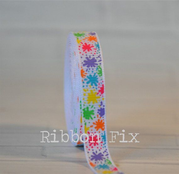 "Splash of Colors 3/"" grosgrain ribbon the listing is for 2 yards"