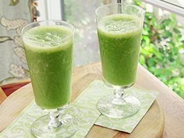 Good Morning Green Smoothie-1 1/2 cups water 1/2 cup ice 1 banana, peeled and cut into chunks 1/2 cup frozen mango chunks 1/2 cup frozen pineapple chunks 1 1/2 cups kale, stems removed, roughly chopped 1/2 cup low-fat Greek yogurt add honey