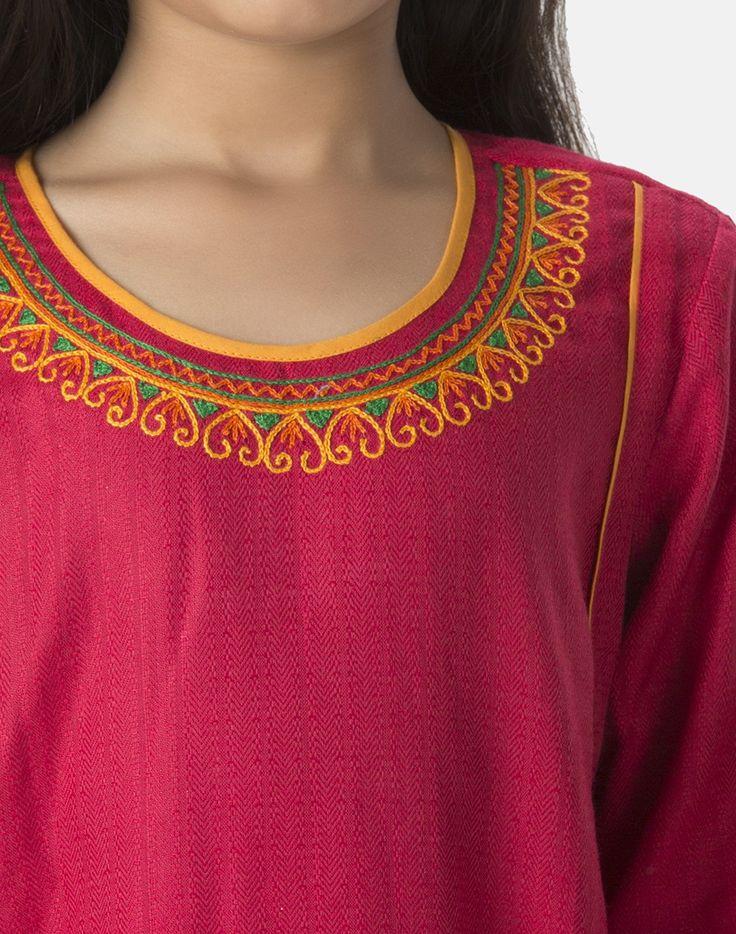 Cotton Viscose Embroidered Neck Salwar Set