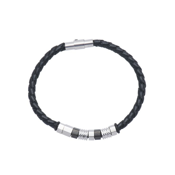 Gents Black Leather Bracelet With Stainless Steel And Black Clasp