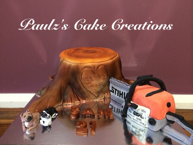 Chainsaw and tree trunk Cake
