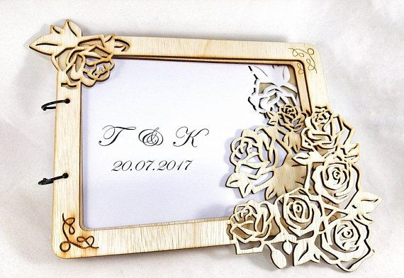 Roses Wedding Guest Book Minimal 3D Guestbook Personalized