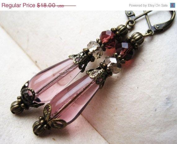Amethyst Teardrop Earrings. Purple Czech Glass Earrings, Downton Abbey Inspired. Victorian Earrings. Handmade Earrings. GTE2.. $16.20, via E...