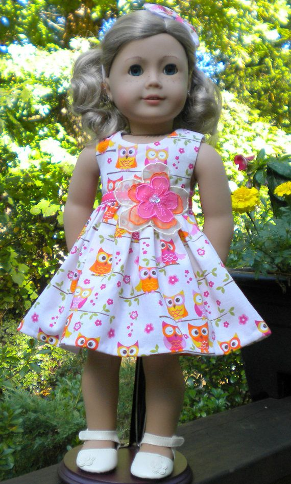 Owl Print dress for American girl or other 18 by mydollyscloset1