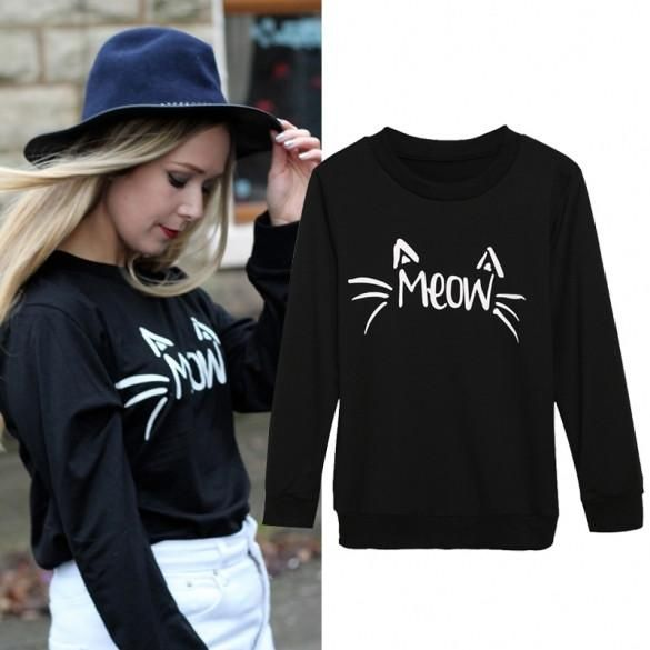 Women O-Neck Long Sleeve Hoodie Print Casual Sports Pullover Top Sweatershirt