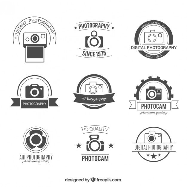 Retro photography badges Free Vector
