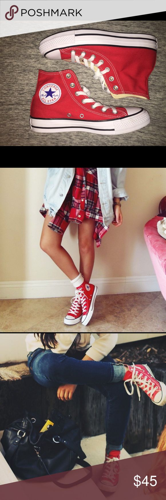 Red High-Top Converse Got as a gift but never worn! Size 6.5 and they are soooo cute just not edgy enough to wear them. Converse Shoes Sneakers