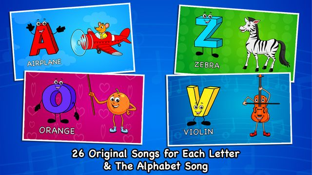 Make your kids learn the alphabet A to Z in a fun way with 26 original songs, one for every letter. Every alphabet introduces the child to four things/animals which start with that letter. Every character and alphabet is interactive - moves and makes sound on touch. Also features the ABC alphabet song.